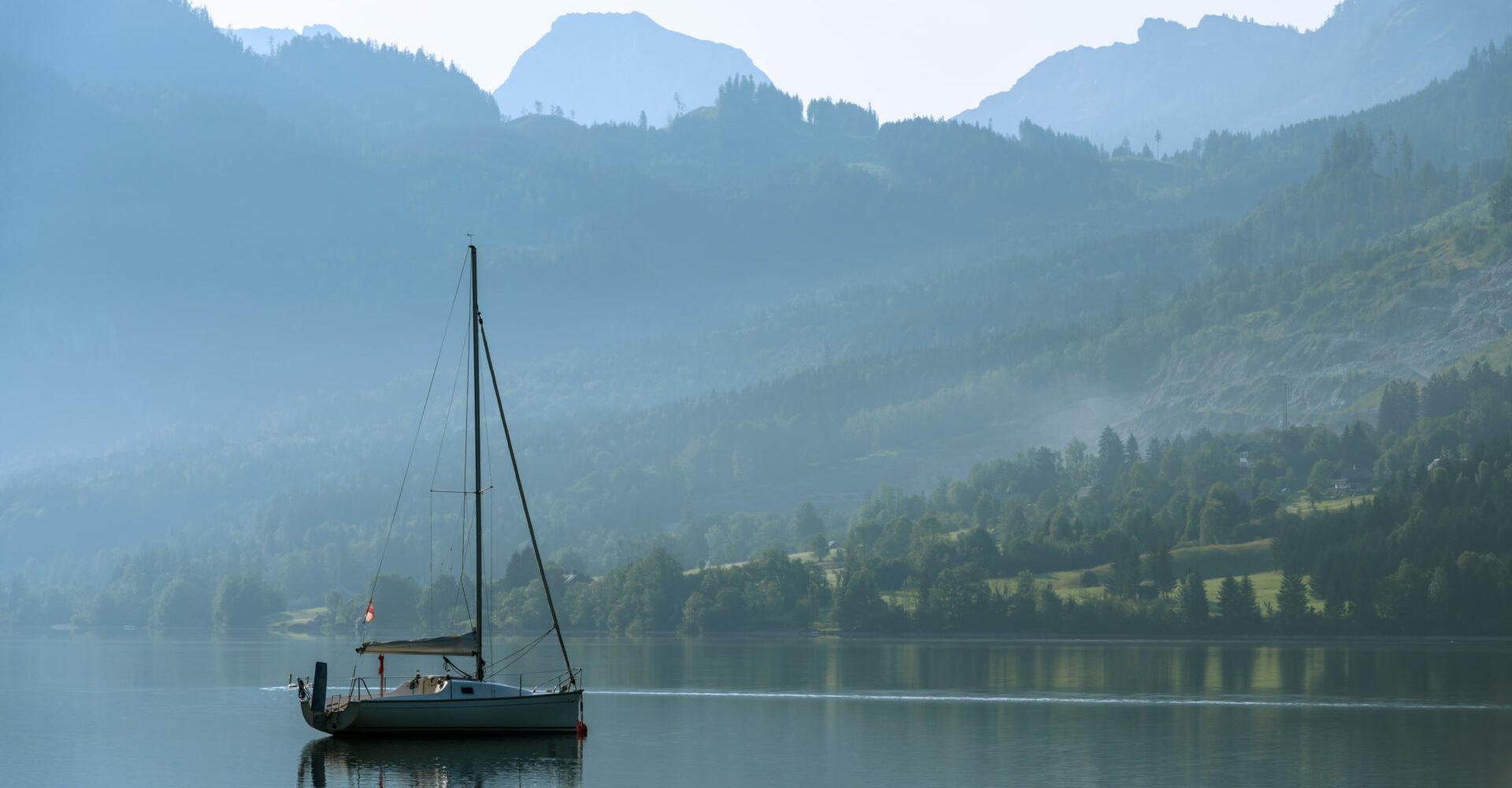 Sunny summer morning on the Grundlsee, Alps, Austria, Europe.