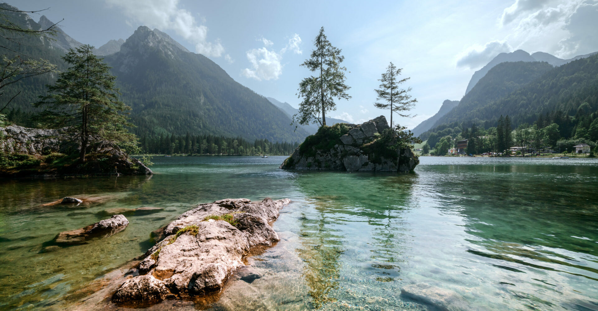 Amazing sunny summer day on the Hintersee lake in Austrian Alps, Europe.